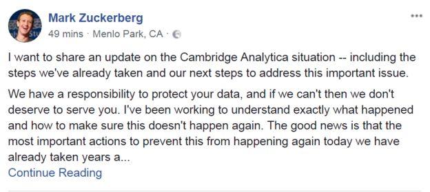 Pantallazo del comunicado de Mark Zuckerberg en Facebook (Foto: Facebook)