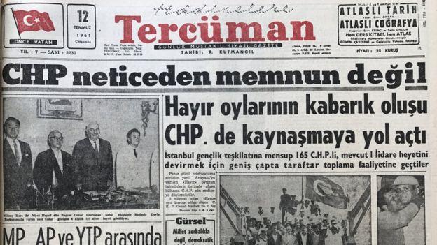 12 Temmuz tarihli Tercüman gazetesinin haberi: CHP neticeden memnun değil / Hayır oylarının kabarık oluşu CHP'de kaynaşmaya yol açtı.