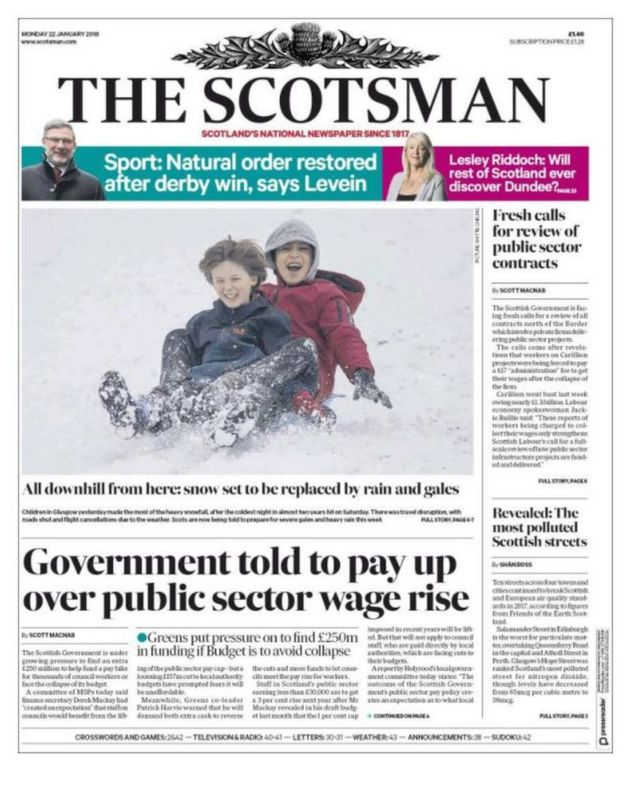 the papers pay up over public sector wage rise news scotsman