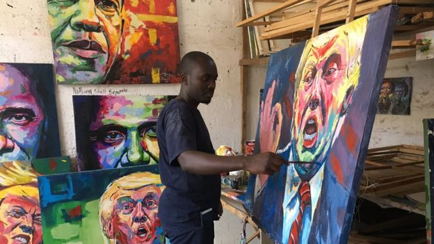 Artist painting Donald Trump