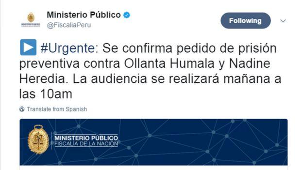 Captura de pantalla del Twitter del Ministerio Público de Perú