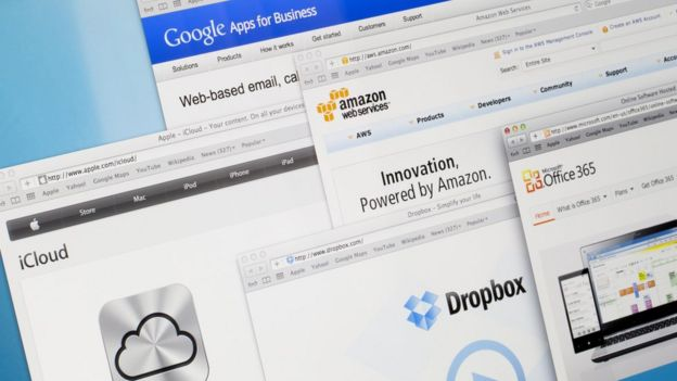 Servicios en la nube de Amazon, Google, Dropbox, Microsoft y Apple.