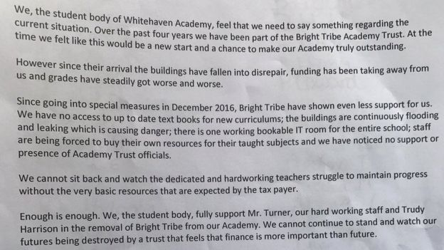 Whitehaven Academy 'destroying futures', pupils claim Edexec