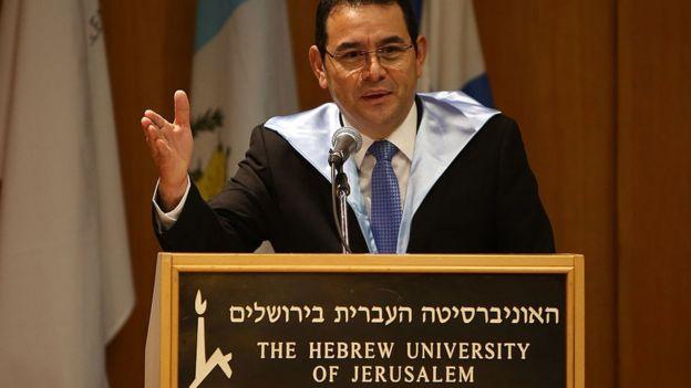 Jimmy Morales en la Universidad Hebrea de Jerusalén