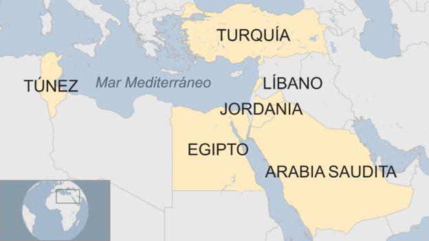 Mapa con los países afectados por la prohibición de Reino Unido de volar con dispositivos electrónicos de gran tamaño.