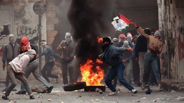 Intifada en los territorios palestinos.