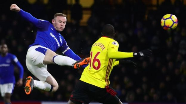Wayne Rooney in action for Everton v Watford