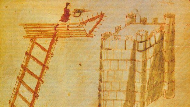 el fuego griego disparado con cheirosiphōn, o lanzallamas portátil.