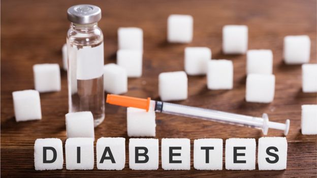 Diabetes with a syringe, insulin and sugar cubes
