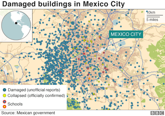 Map shows damaged buildings in Mexico City