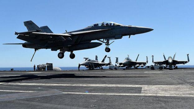 US fighter plane in the Mediterranean.