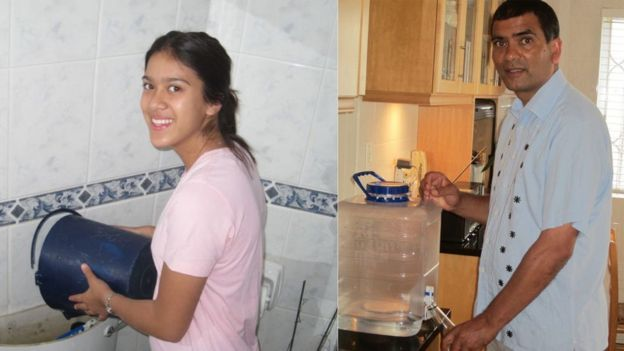 Mohammed Allie and his daughter show off some water saving methods in their home
