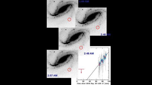 Sequência mostra o aparecimento de uma supernova em uma galáxia