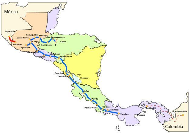 Panamá, Costa Rica, Nicaragua, El Salvador, Honduras y Guatemala están unidos por una red eléctrica de 1.800 kilómetros de longitud.