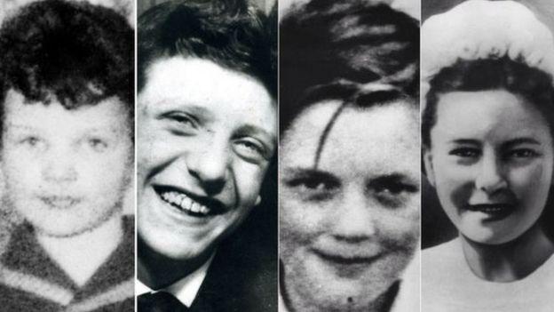 Soldan sağa Lesley Ann Downey, Edward Evans, John Kilbride ve Pauline Reade