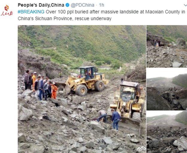 El diario oficial People's Daily inform{o a través de su cuenta de Twitter sobre el suceso.
