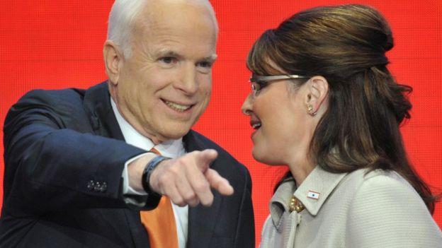 Sarah Palin, John McCain ile cumhuriyet başkanlığı kampanyası sırasında St Paul, Minnesota'da 3 Eylül 2008'de