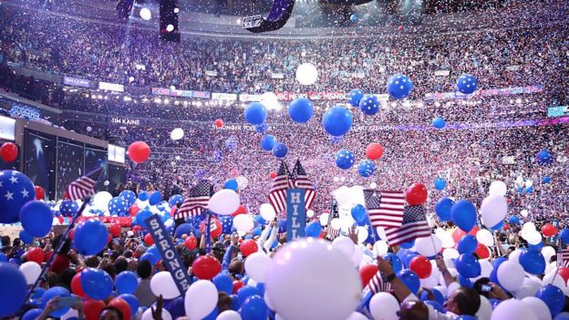 Balloons Fall Over Delegates And Attendees At The End Of The Fourth Day Of The Democratic