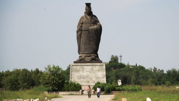 "This photo taken on September 7, 2015 shows a status of China's first emperor ""Qin Shi Huang"" in Binzhou in China's eastern Shandong province."
