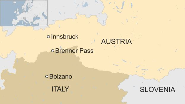 ItalyAustria Tension Over Border Troops At Brenner Pass BBC News - Map of austria and italy