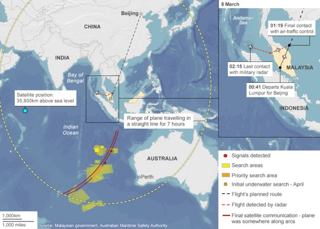 Map showing last-known movements of flight MH370