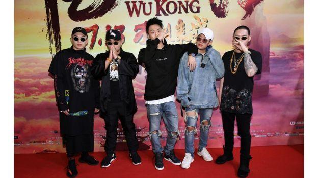 2017年7月,PGone(右二)在北京《悟空傳》首映式上