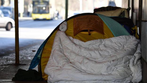 A tent at a makeshift homeless encampment under a bridge in Berlin's Tiergarten district. March 1, 2018