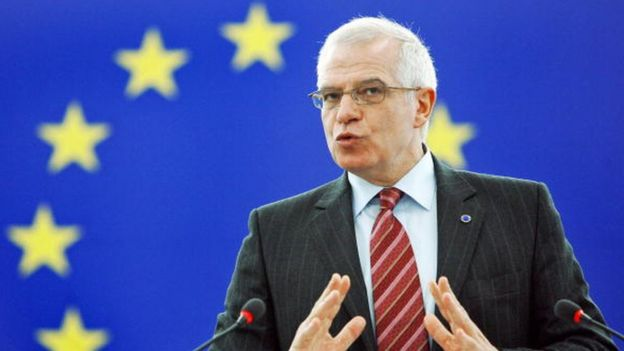 Josep Borrell, cuando presidía el Parlamento Europeo.