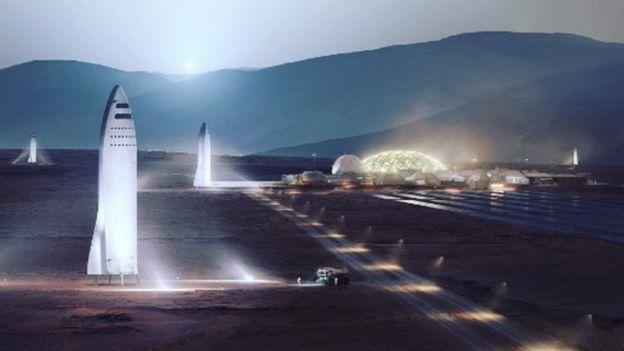 Una ilustración de una colonia en Marte