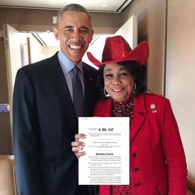 Frederica Wilson (R) with former President Barack Obama
