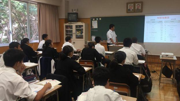 Salón de la escuela coreana en Japón (Foto: Francisco Jiménez de la Fuente)