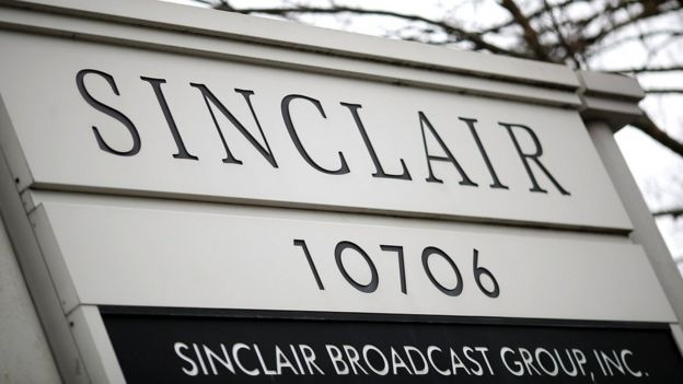 A sign for Sinclair Broadcast Group