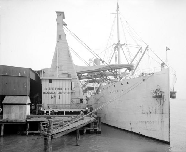 A cargo ship at the dock of the United Fruit Company banana conveyors in New Orleans, Louisiana circa 1910
