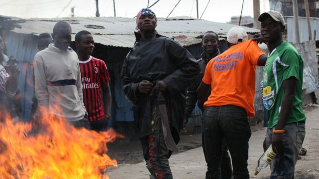 Odinga supporters in mathare