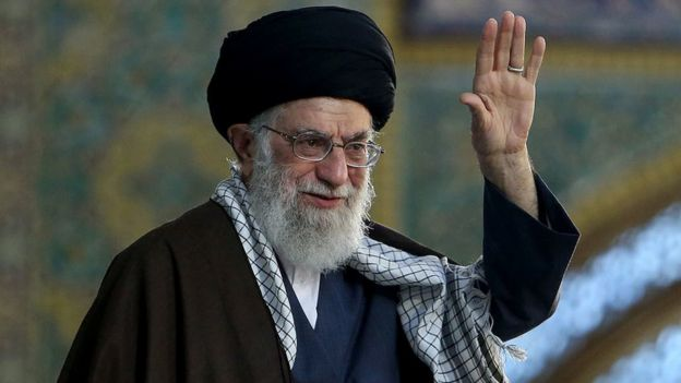 Iran's Supreme Leader Ayatollah Ali Khamenei gestures before delivering a speech in Mashad, Iran, 21 March 2018
