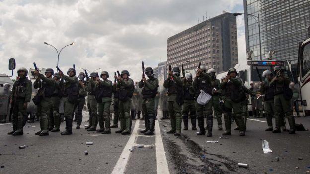 Funcionarios de la Guardia Nacional Bolivariana.