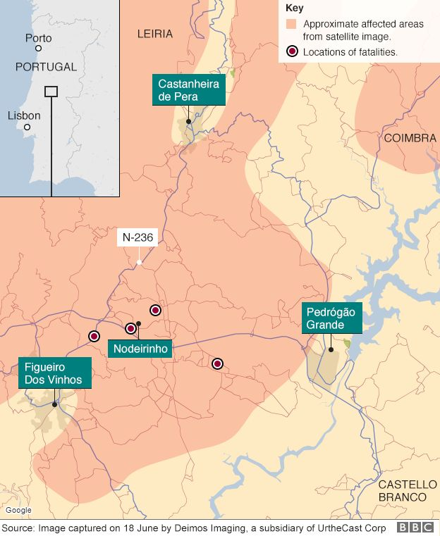 Portugal Forest Fire Survive By Hiding In A Water Tank BBC News - Portugal motorway map