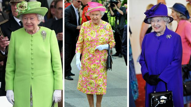 The Queen wearing a selection of brightly coloured outfits