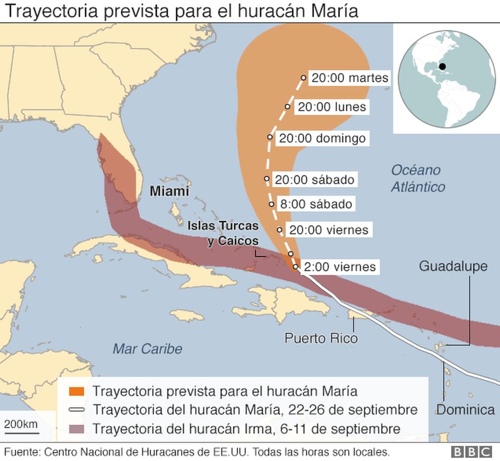 Mapa de la trayectoria prevista para el huracán María.