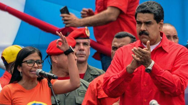 Delcy Rodríguez y Nicolás Maduro