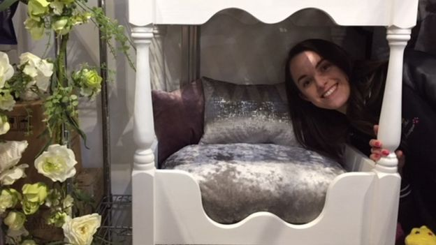 Courtney Gilbert with her four-poster dog bed