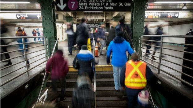 Hora pico en el metro de Nueva York