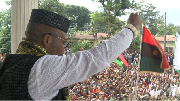 Nnamdi Kanu with cheering crowd