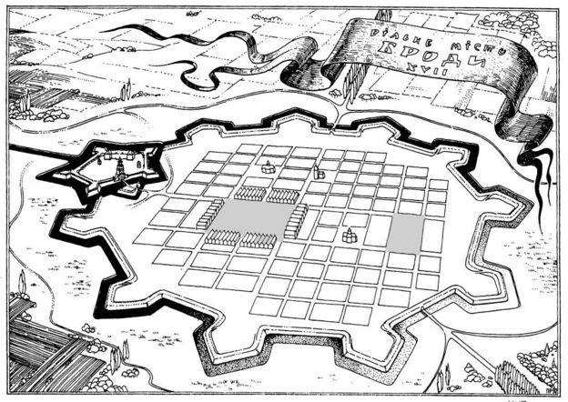 Схема Міста Броди. П'ятикутний бродівський замок - ліворуч