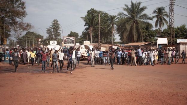 Protesters march in CAR's capital