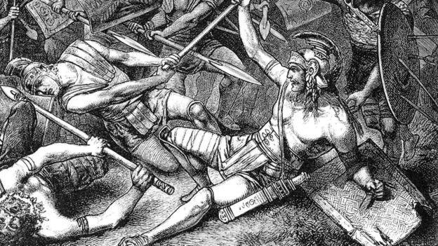 Dibujo de un combate entre gladiadores