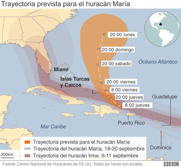 Mapa de la trayectoria prevista para el huracán María