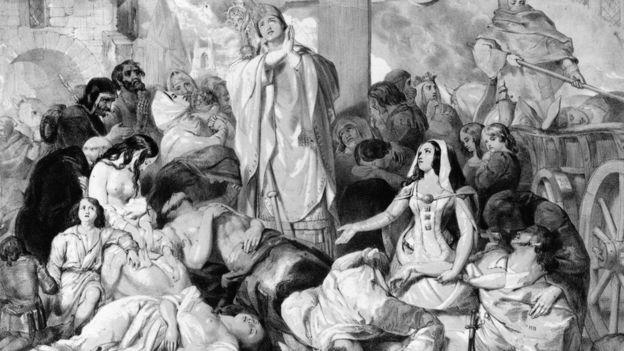 Quadro de E. Corbould retrata pessoas rezando por conta das mortes causadas pela Peste Negra, em 1350