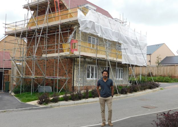 Pritesh Patel in front of his house