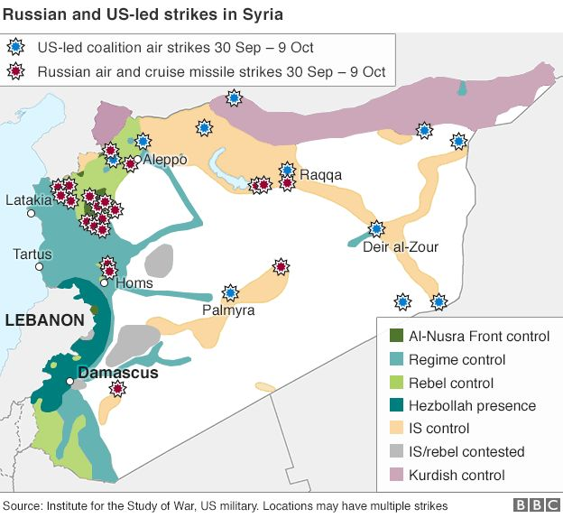 map of syria showing locations of russian and us led coalition air strikes